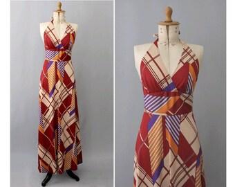 1970s maxi Dress abstract Yolene Paris small / 70s Paris long dress naked back