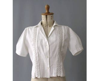 1940s white cotton open lace Blouse /40s french top