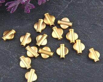 Mini Flat Barrel Tube Bead Spacers, Barrel Tube Slides, Gold Plated, 15 pieces // GB-196