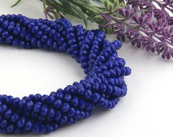 Royal Blue, Faceted  Rondelle Chinese Crystal Beads, Crystal Rondelle Beads, 1 strand-135 pcs // BD-066