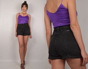 Vintage Black High Waist Cuffed Denim Shorts
