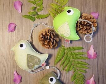 Felt Bird Decoration, Plush Ornament, Green Baby Nursery, Softie Wildbird, Cool Gift Idea, Kids Bedroom Decor, Nature Art, Cute Forest Theme