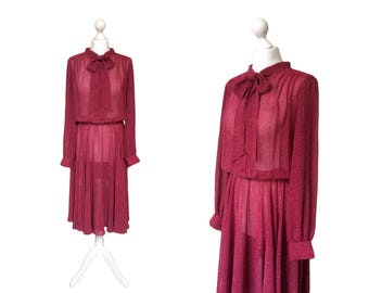 Pussy Bow Dress - 1970's Vintage Dress - 70's Dress - Plum Red Dress In Semi Sheer Chiffon