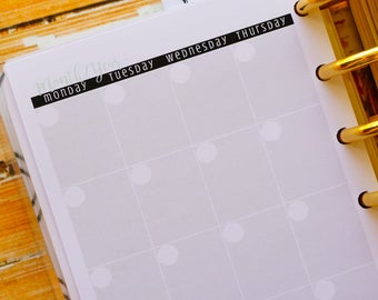 Printed Monthly Planner Inserts for use with Discbound Junior, Undated Calendar, Monday Start | M403D