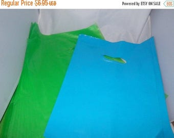 On Sale 100 pack  Lime Green  and Teal Blue Glossy Retail Merchandise bags  Low Density Plastic Merchandise Gift Bags 9 x 12