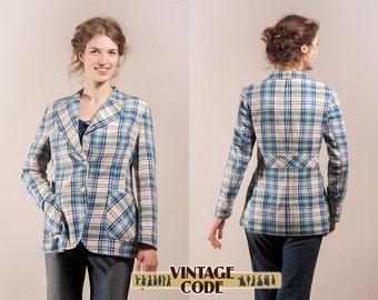 Tartan plaid jacket / blazer /  Blue and green plaid fitted jacket /  60s 70s vintage jacket / size medium to large