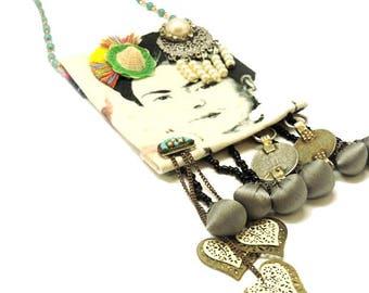 Frida Kahlo Necklace, Bells Necklace, Upcycled Jewelry, Upcycled Necklace, Fabric Necklace, Long Necklace, Fringe Necklace, Boho Style, OOAK