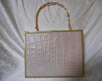 Cigarbox Purse, Authentic Embossed Crocodille Leather, Tina Marie Purse Purse, Pale Pink Colors