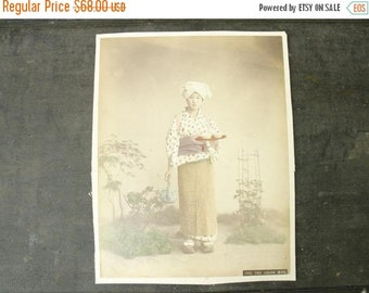 "ON SALE antique original 1880's hand tinted japanese photo, ""tea girl"" & ""hair dresser"""