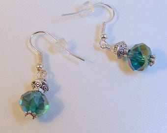 Teal Rondelle Lantern Earrings