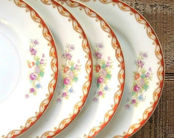 Mid Century Diamond Roslyn Bread and Butter Plates Set of 4 Occupied Japan