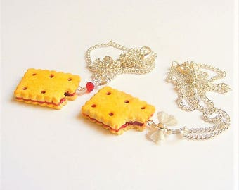 SALE Food Jewelry Cookie Necklace, Cookie Pendant, Miniature Food, Biscuit Necklace, Biscuit Pendant, Cookie Charm Food Jewellery, Mini Food