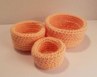 Three soft stack-able crochet bowls