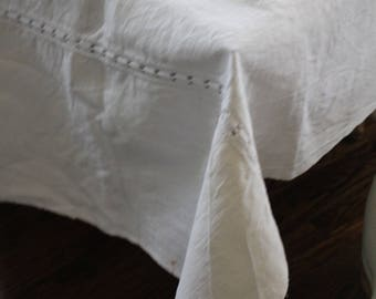 Antique French Linen Tablecloth Or Runner, Heavy French Linen, Farmhouse  Linen, Old French