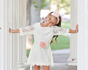 Ivory Wedding Flower Girl Sash and Headband