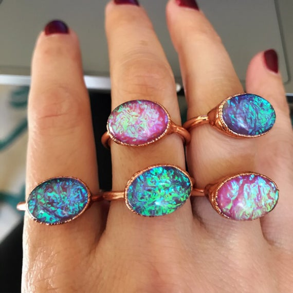Glass Opal Rings, Statement Rings, boho jewelry, festival fashion