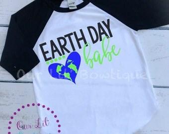 Earth Day Shirt - Earth Day Babe - Raglan - Kids Earth Day Shirt - Raglan - Earth Raglan  -Glitter