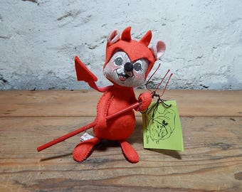 AnnaLee Thorndike Red Devil Mouse Doll, Collectible Doll, Red Pitchfork,  1982., New Hampshire Dolls.