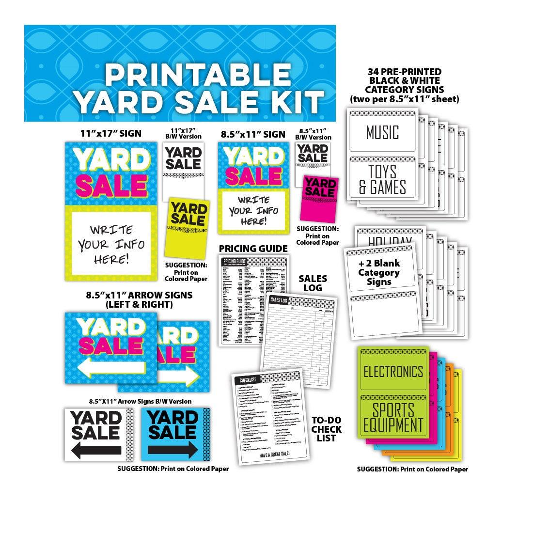 yard sale sign kit bundle tag sale garage sale estate