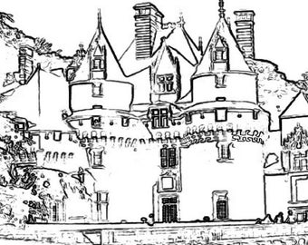 Castle Coloring Page Item 7.  Printable Coloring Page, Instant Download Adult Coloring Page.