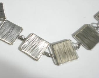 Vintage Silver Necklace -  Silver Chain Wire Wrapped Squares Jewelry