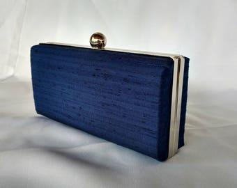 Blue indigo silk minaudire clutch/ Something blue purse/Wedding clutch/Personalized purse/ Purse trend 2018/ bridal shower gift purse
