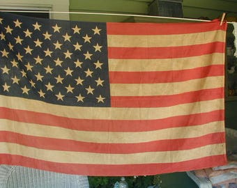 "Vintage United States Flag, ""Old Glory"" 50 Stars, Cotton Fabric, Made By the Golden State Banner Co., Los Angeles, California"