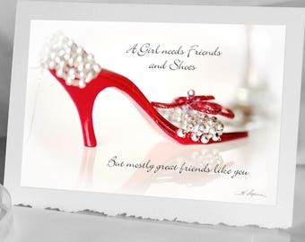 Shoe CARD Birthday Notecard Bokeh Photography Photo Greeting Red Sparkling High Heel Funny Beautiful women Red hat society girlfriend