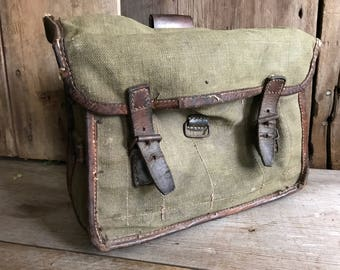 French Khaki Canvas Hunting Bag, Military Pouch, Fishing Case