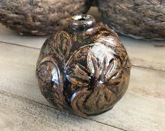 Artisan Stoneware Pottery Bud Vase, Signed by Artist, Floral Design, Natural Colors