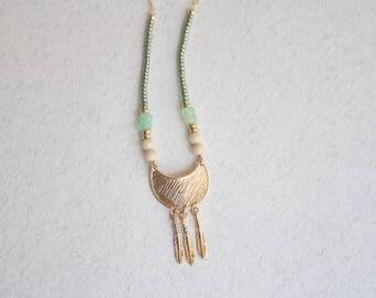 Boho Green Beaded Necklace, Boho Moon Necklace, Boho Feathers Necklace, Green Beaded Long Necklace, Gypsy Long Necklace, Tribal Necklace