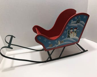 LARGE Vintage Wood and Metal painted sleigh Sled, about 9 x 16 inches long