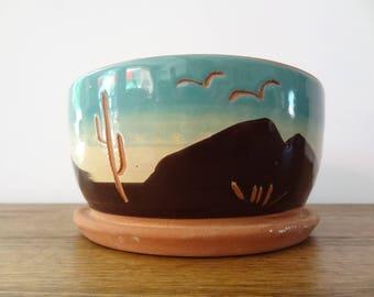 Vintage Southwest Terracotta Cactus Desert Scene Plant Pot