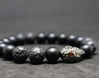 Snake bracelet-bracelet with snake-snake head-man's bracelet-jewelry-brutal bracelet-hipster bracelet-black onyx-lava stone-boho bracelet