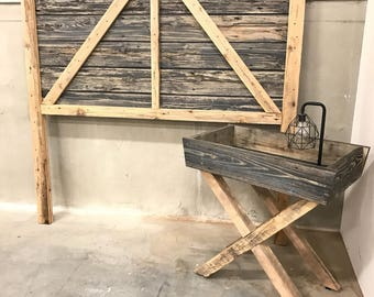 Reclaimed wood Queen barndoor headboard extra tall with matching x base tray table ready to ship