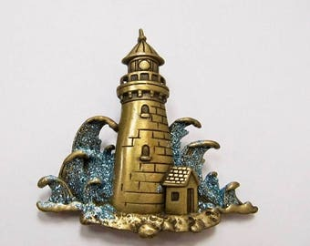 On Sale JJ Sparkling Enameled Lighthouse Pin Item K # 2878