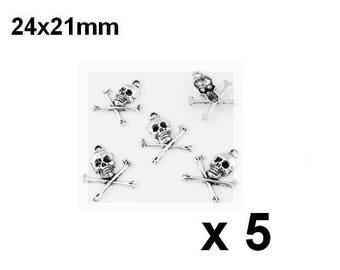 5 pendants metal charms, skull skull skull 24x21mm