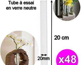 x 48 pieces 20cm width 20mm glass Test Tubes