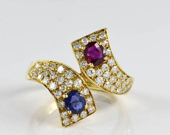 Sensational ruby sapphire diamond you and me twisted vintage ringe