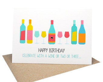 Female Birthday Card   Birthday Cards Female   Wine Bottles and Glasses   HBF157   Happy Birthday Card Female Card   Wine Card for Her