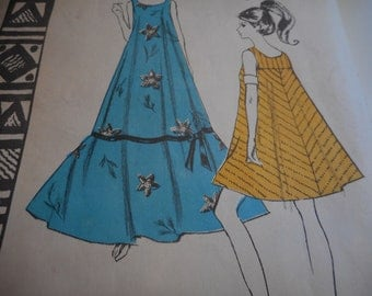 Vintage 1960's, 70's Polynesian Pattern WikiWiki #181 MuuMuu Dress Sewing Pattern Size Medium, Bust 34-36