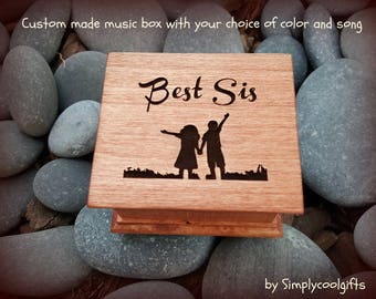 music box, wooden music box, custom made music box, best sister, best sister gift, personalized music box, musical box, music box shop