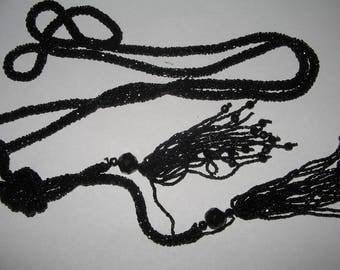 Vintage Black Beads Flapper Length Necklace  Costume Vintage Jewelry #e195