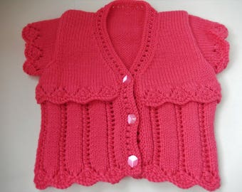 hand knit baby girl cardigan / hand knit girls sweater / pink cardigan / 0-3 month sweater