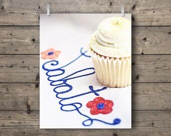Dolce Sabato / Lemon Cupcake Food Photography Print / Italian Cafe Kitchen Home Decor / Sweets Bakery Colorful Pastel Wall Art