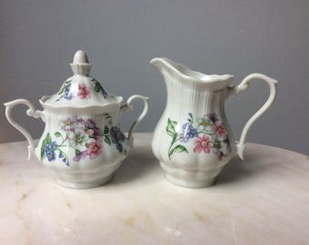 Vintage Walbrzych Porcelain Sugar Bowl and Creamer Set Romantic Floral Garland Pattern Made in Poland
