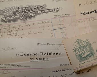 antique advertising, receipts with letter heads, 1900-1908, lot of 8 pieces