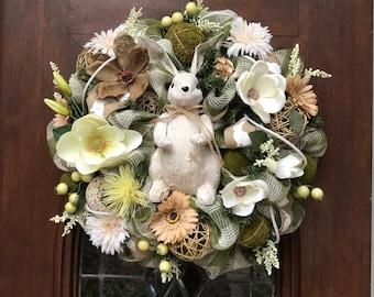 White Bunny Burlap and Mesh Wreath