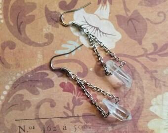 Quartz Crystal Point Earrings in silver