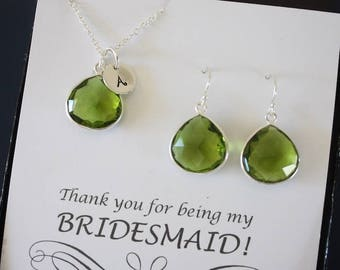 6 Monogram Bridesmaid Necklace and Earring set Green, Bridesmaid Gift, Green Quartz, Sterling Silver, Initial Jewelry, Personalized